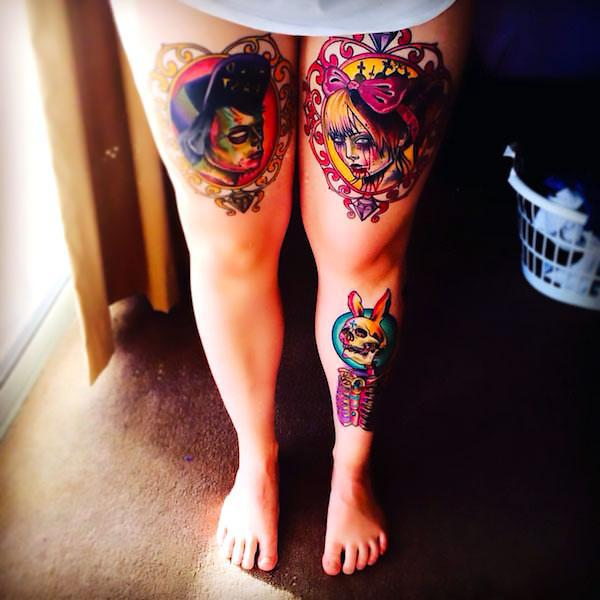 Day of The Dead Thigh Tattoo Idea