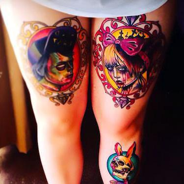 Day of The Dead Thigh Tattoo
