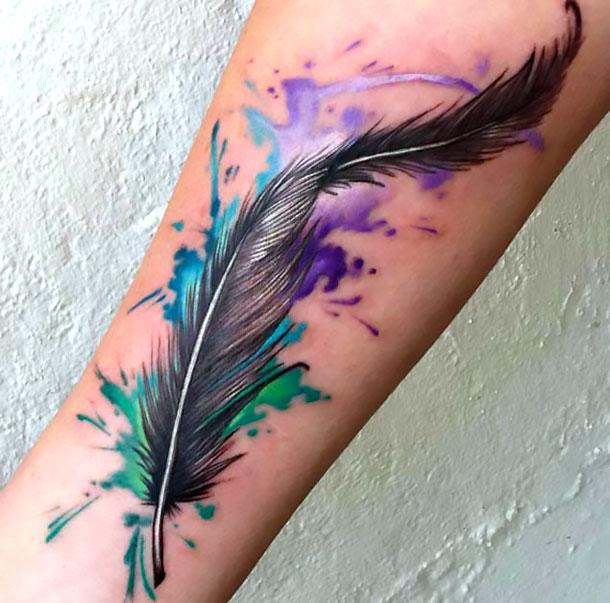 Amazing Feather Tattoo Idea