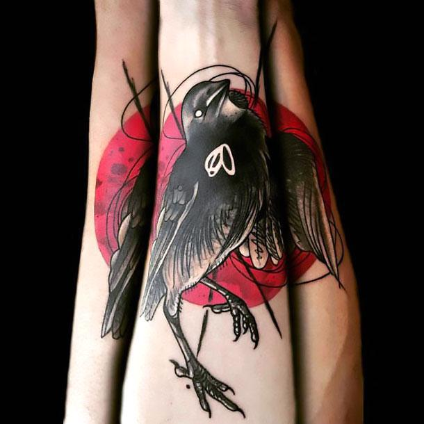 Dead Sparrow on Forearm Tattoo Idea