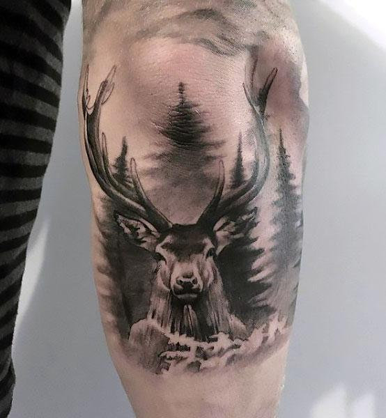 Deer on Elbow Tattoo Idea