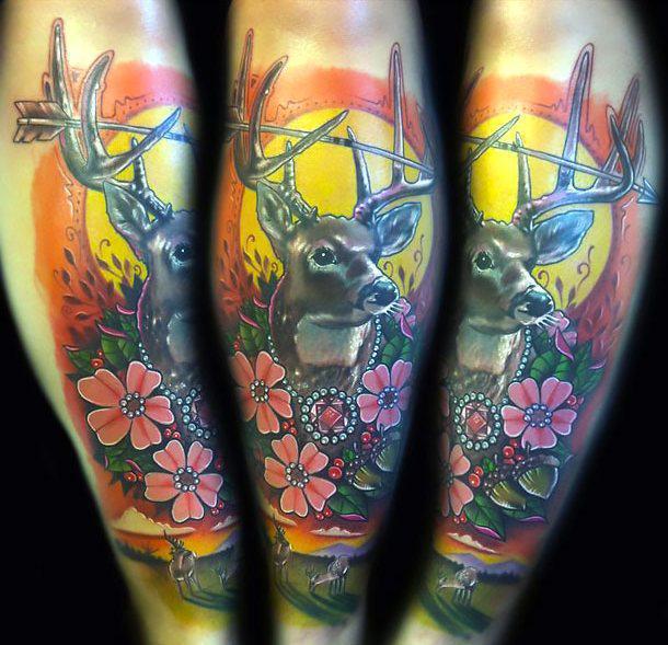 Deer on Shin Tattoo Idea