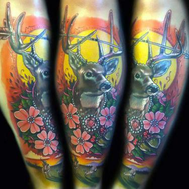 Deer on Shin Tattoo