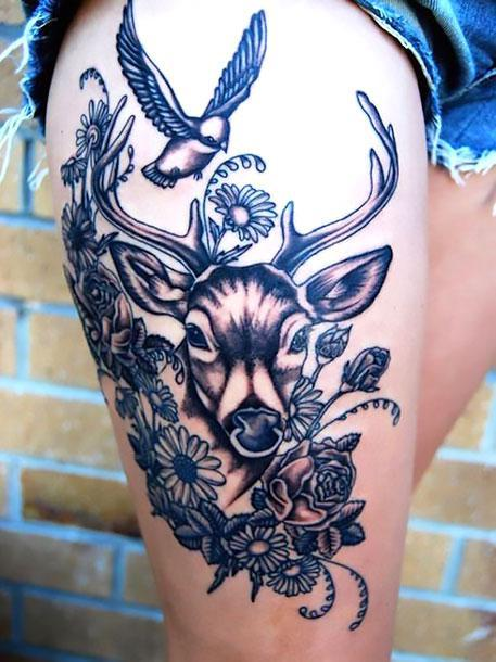 Deer on Thigh Tattoo Idea