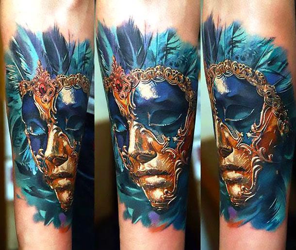 Detailed Mask Tattoo Idea