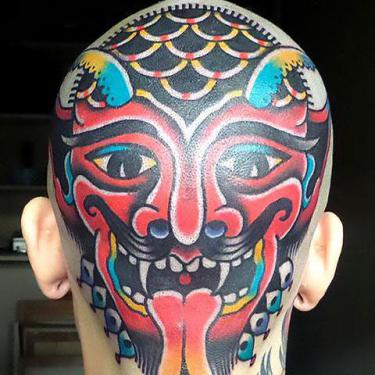 Devil on Head Tattoo