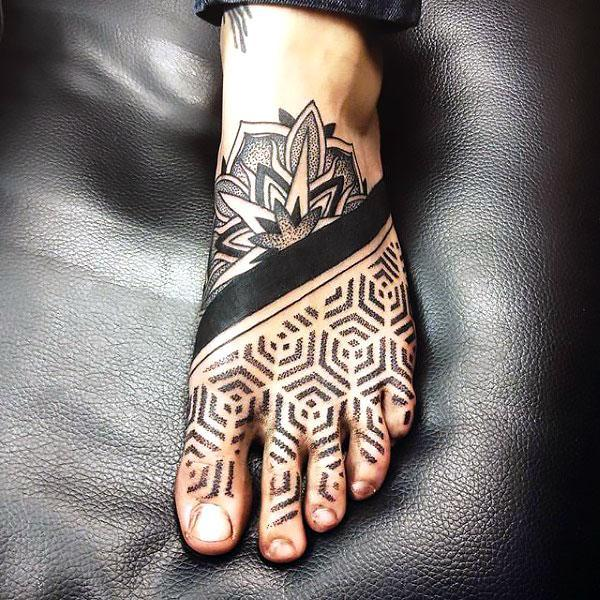 Dotwork for Guy Foot Tattoo Idea