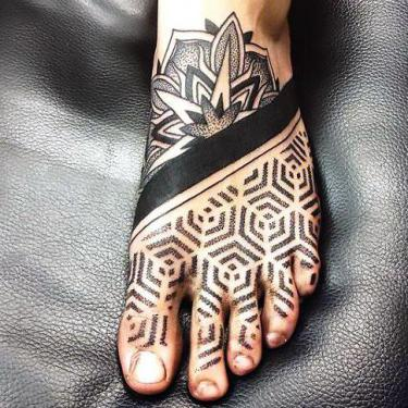 Dotwork for Guy Foot Tattoo