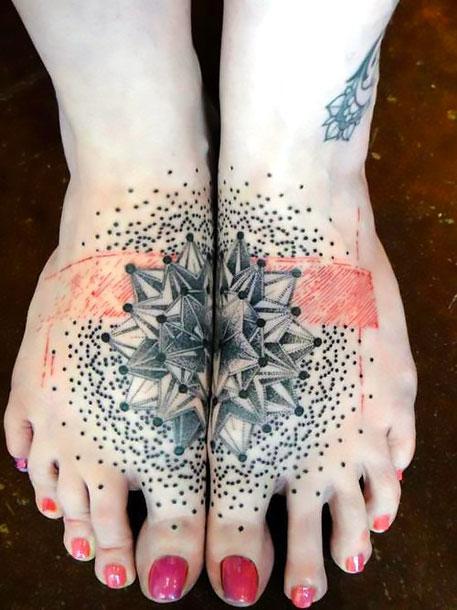 Dotwork Mandala on Feet Tattoo Idea