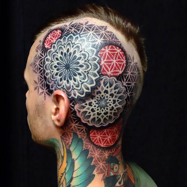 Dotwork Men Head Tattoo Idea