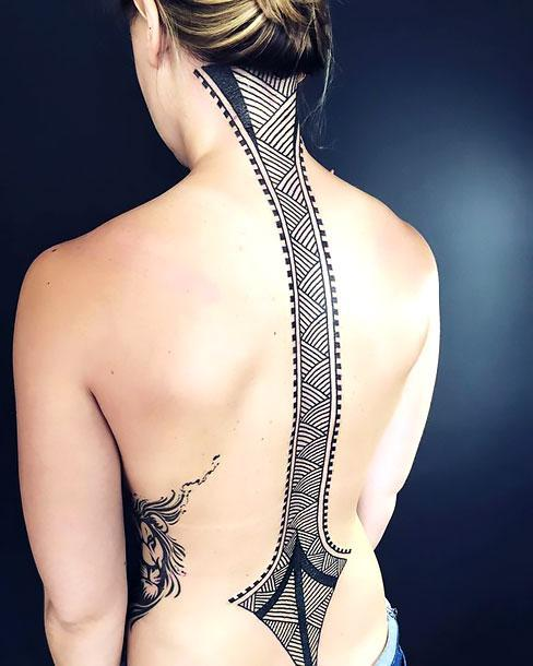 Amazing Lines on Spine Tattoo Idea