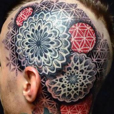 Dotwork Men Head Tattoo