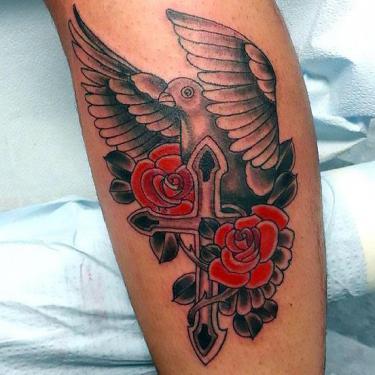 Dove and Cross Tattoo