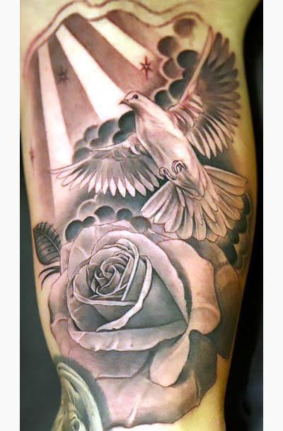 Dove and Rose on Arm Tattoo Idea