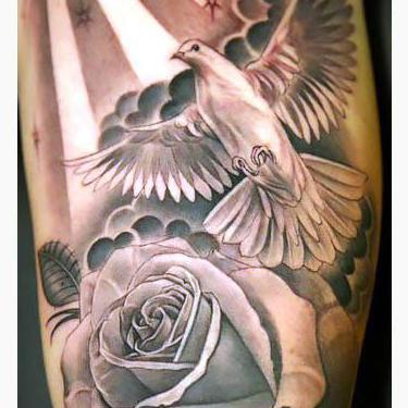 Dove and Rose on Arm Tattoo