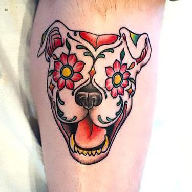 Sugar Skull Pitbull Tattoo