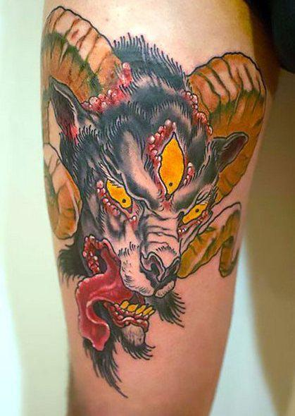Terrible Ram Head Tattoo Idea