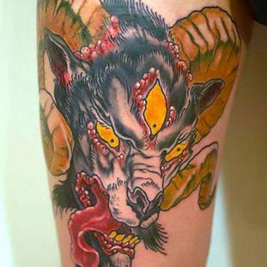 Terrible Ram Head Tattoo
