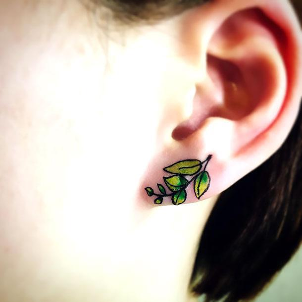 Leaves Earring Tattoo Idea