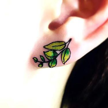 Leaves Earring Tattoo