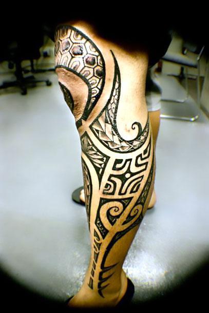 Tribal Shin Tattoo Idea