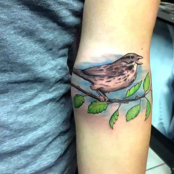 Tweeting Sparrow Tattoo Idea