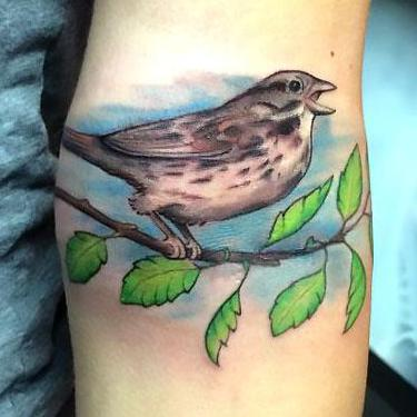 Tweeting Sparrow Tattoo