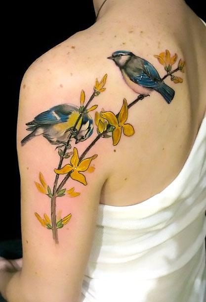 Two Birds on Branch Tattoo Idea
