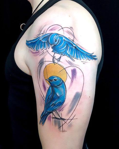 Two Bluebirds on Shoulder Tattoo Idea