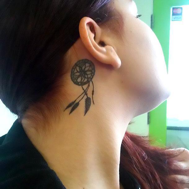 Dreamcatcher Behind Ear Tattoo Idea