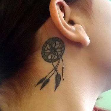 Dreamcatcher Behind Ear Tattoo