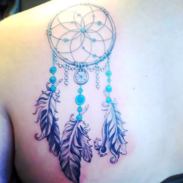 Dreamcatcher on Shoulder Blade Tattoo Idea