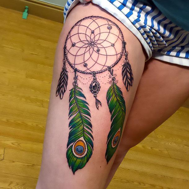 Dreamcatcher With Peacock Feather Tattoo Idea