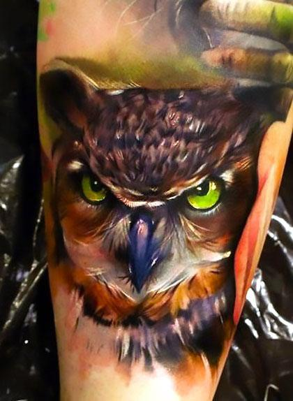 Amazing Realistic Owl Tattoo Idea