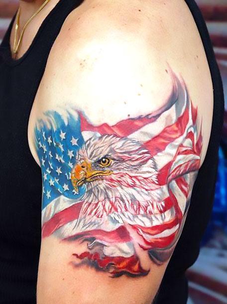 Eagle American Flag Tattoo on Shoulder Tattoo Idea