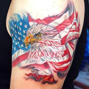 Eagle American Flag Tattoo on Shoulder Tattoo