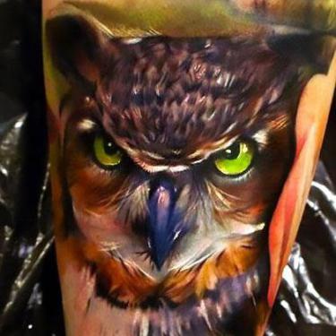 Amazing Realistic Owl Tattoo