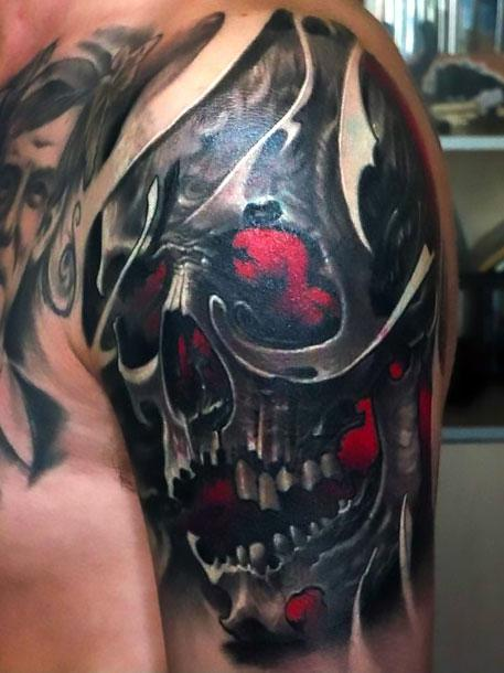 Amazing Skull on Shoulder Tattoo Idea