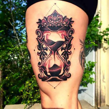 Upper Thigh Hourglass Tattoo