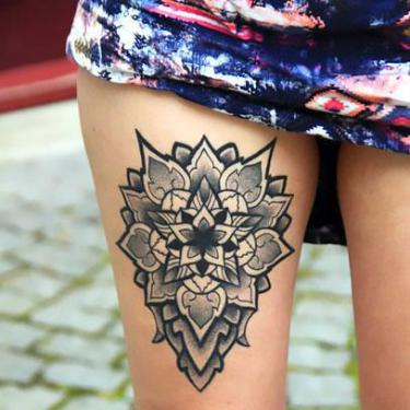 Upper Thigh Mandala Tattoo
