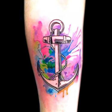 Watercolor Anchor Tattoo