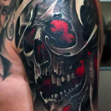 Amazing Skull on Shoulder Tattoo