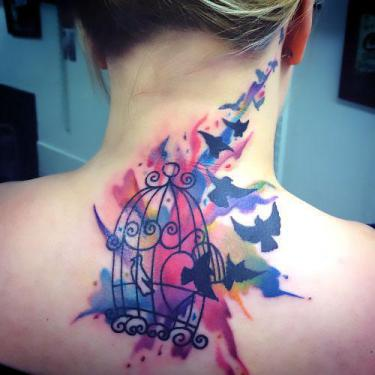 Watercolor Birdcage Tattoo