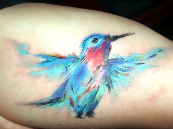 Watercolor Bluebird Tattoo Idea