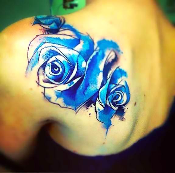 Watercolor Blue Rose Tattoo Idea