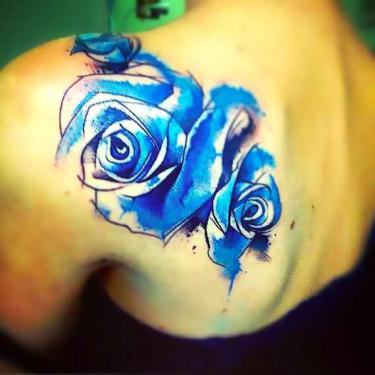 Watercolor Blue Rose Tattoo