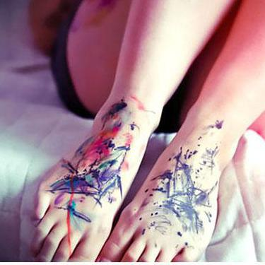 Watercolor Feet Tattoo