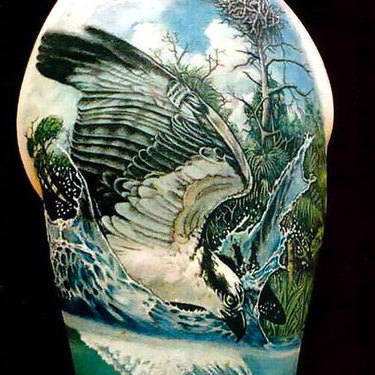 Eagle Hunting A Fish Tattoo