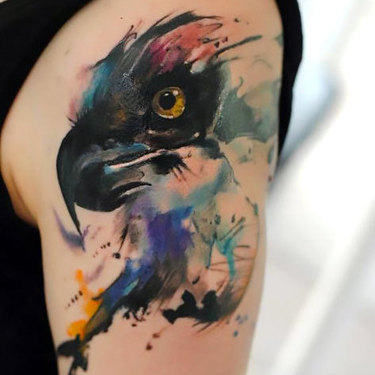 Watercolor Hawk Tattoo