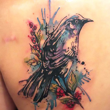 Watercolor Mockingbird Tattoo